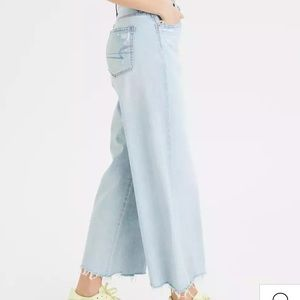 American Eagle Wide Leg Faded Denim Jeans